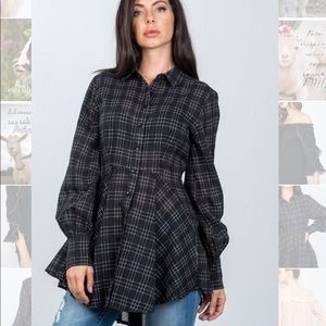 Boho black Graph check HI-low pepium tunic